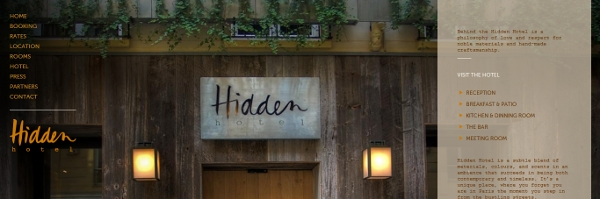 Hidden Hotel website