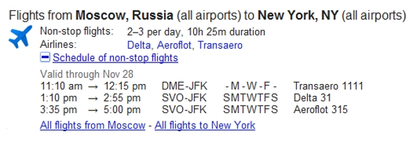 Google flight search.