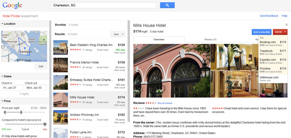 Google Hotel Finder actually shows you more