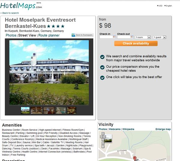HotelMaps hotel selection