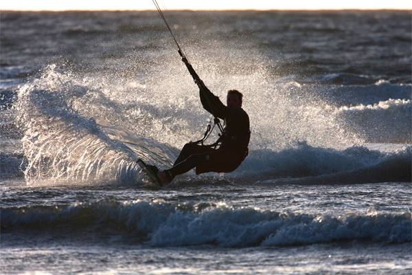 Kite surfing in the Atlantic