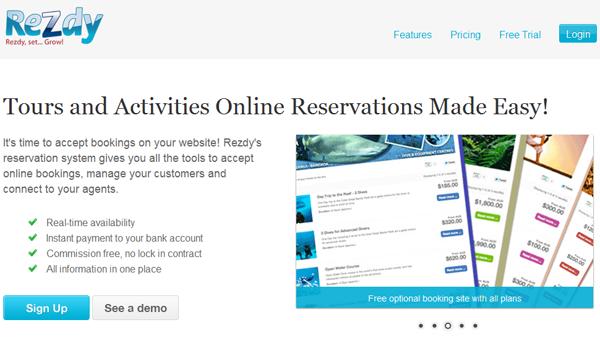 Rezdy.com home page
