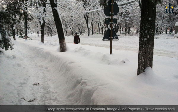 Deep snow everywhere in Romania.