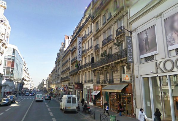 Looking down Rue de Rennes past the hotel