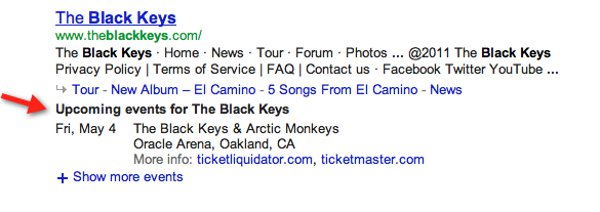 Google concert info in real time