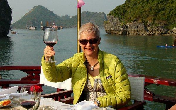 Enjoying a junk cruise at Halong Bay
