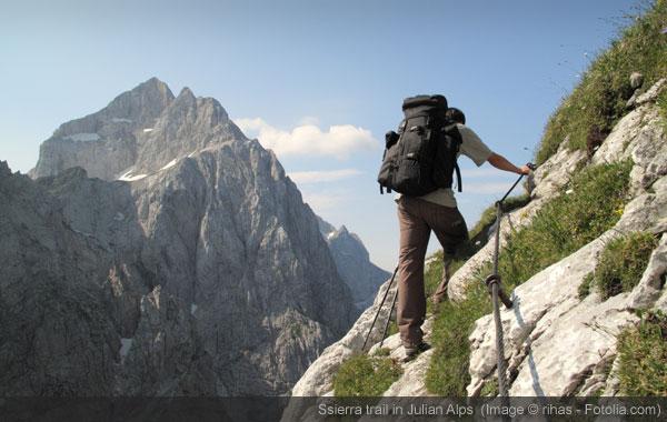 sierra trail in Julian Alps, Slovenia.