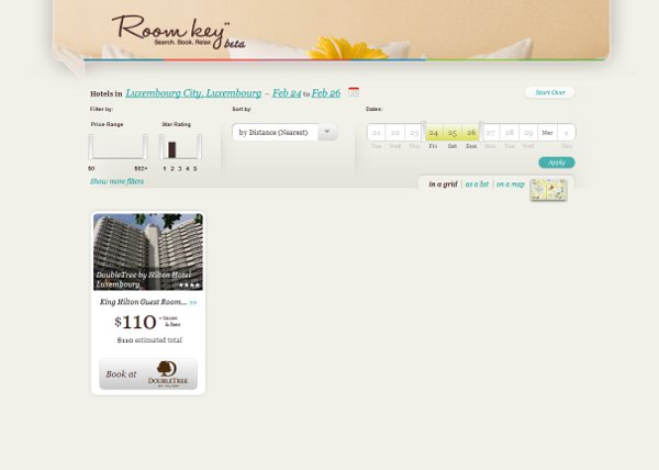 Screen from Roomkey for Luxembourg booking