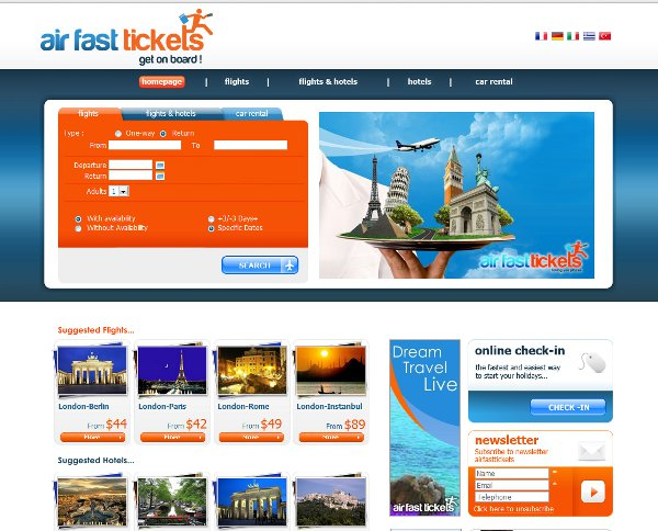 Airfasttickets landing page