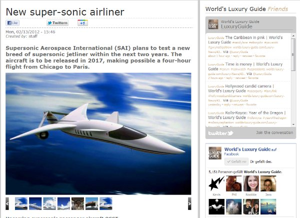 Supersonic Aerospace International via World's Luxury Guide