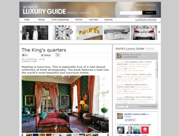 The King's Quarters via World's Luxury Guide