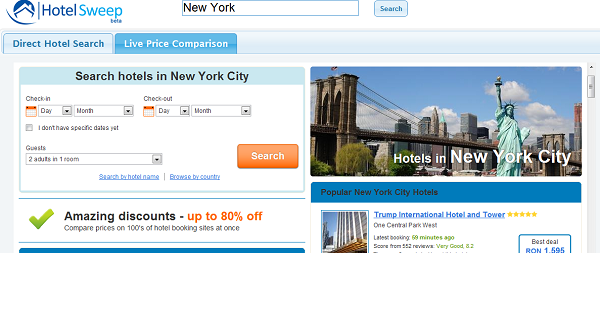 HotelSweep search hotels feature.