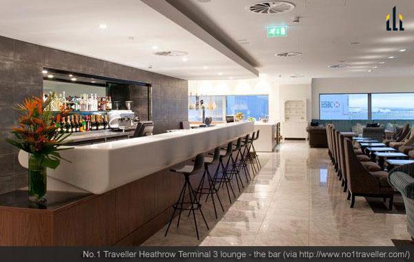 Heathrow Terminal 3 lounge - the bar