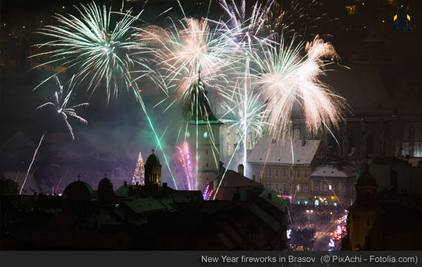 New Year fireworks in Brasov