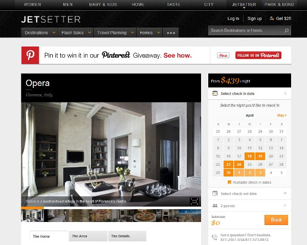 Jetsetter user interface focused on homes.
