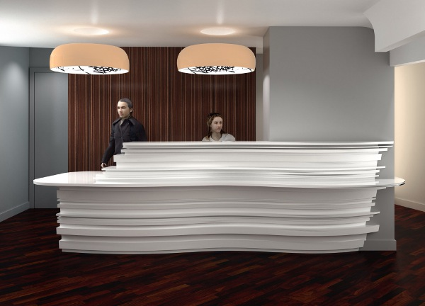 Reception desk at the all new Félicien Hotel, Paris