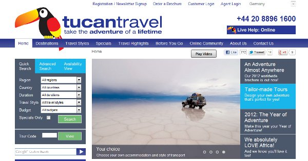 Tucan Travel landing page