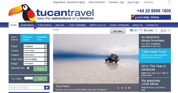 Tucan Travel landing page
