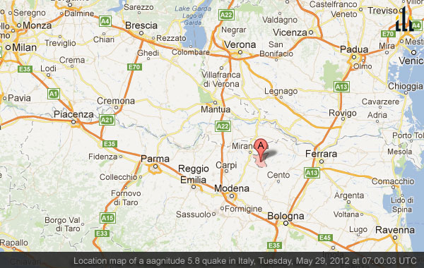 Location map of a magnitude 5.8 quake in Italy, Tuesday, May 29, 2012 at 07:00:03 UTC