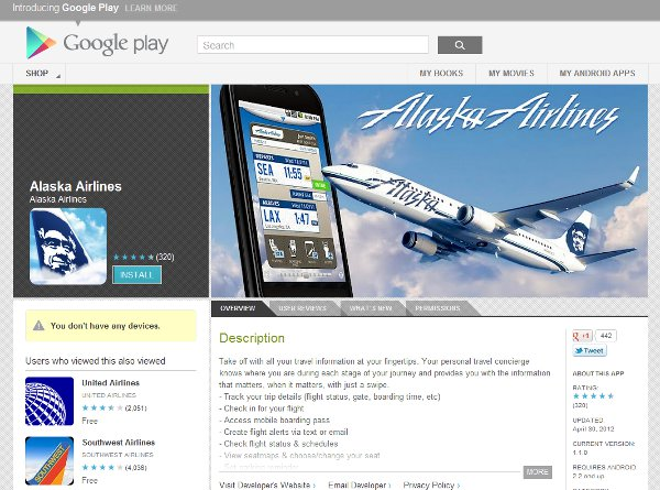 Alaska Airlines app on Google Play
