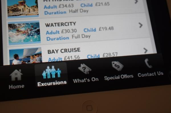 MyThomson Excursions app shows Crete off