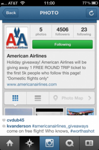 American Airlines scam on Instagram.