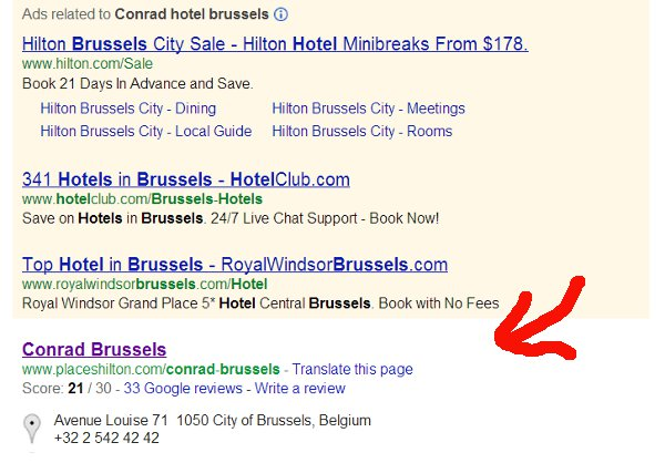 The Conrad Hotel in Brussels search result