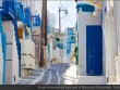 Empty whitewashed walk path in Mykonos