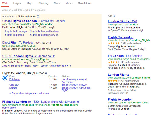 searching for flights to london