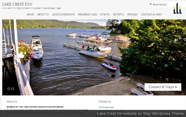 Lake Crest Inn website on Stay WordPress Theme