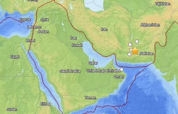USGS map of quake in Khash, Iran
