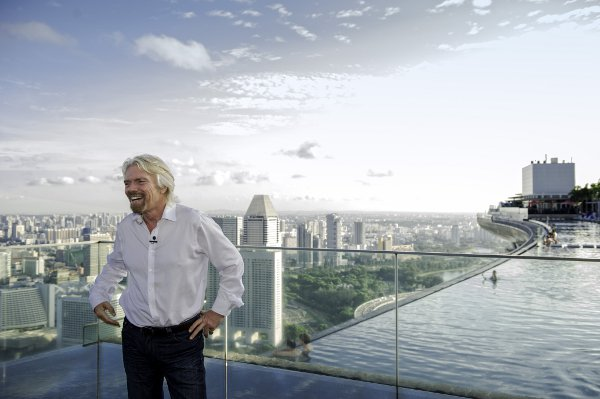 Sir Richard Branson enjoying the view atop Sands SkyPark