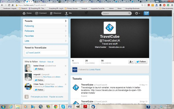 TravelCube UK Twitter - time permitting perhaps I could find other sm channels?