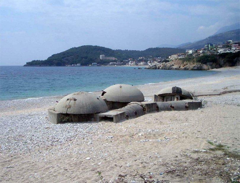 Communist era bunkers dot the Albanian coast. - Courtesy Wikipedia