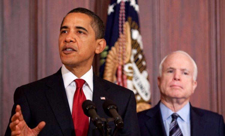 Barack Obama and John McCain via Wikipedia