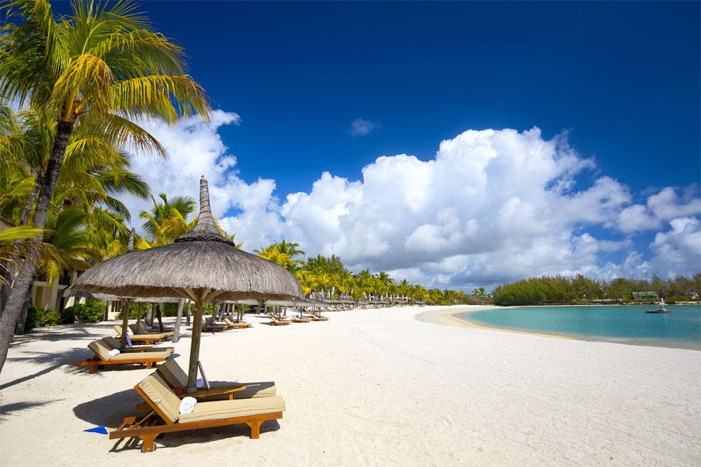 White sand tropical beach in Mauritius