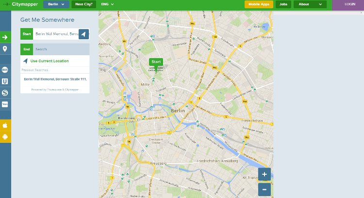 city mapper map interface input screenshot of the platform