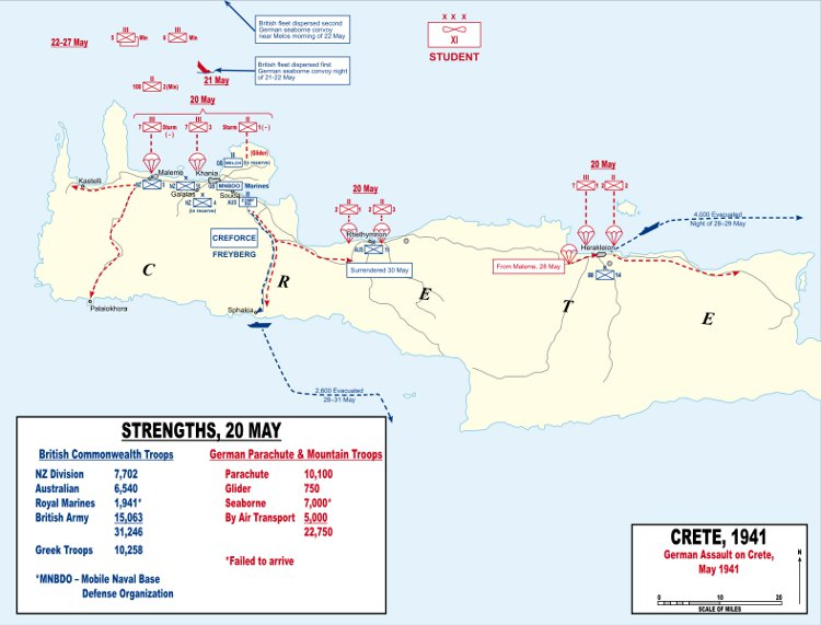 Map of the German invasion of Crete