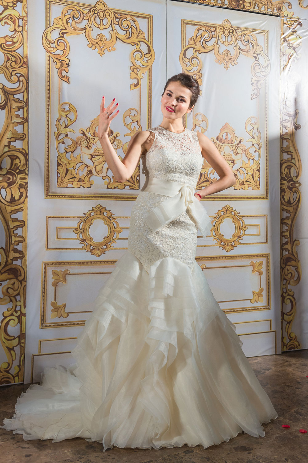 Sati Kazanova wearing a Vanilla wedding dress.