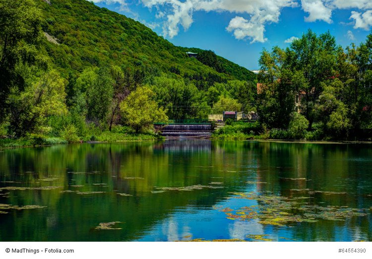 The greenery and a pond in Jermuk