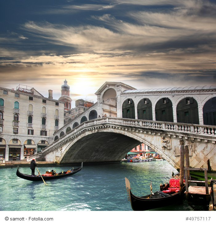 Venice bridges and gondolas
