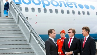 Dmitry Medvedev courtesy Aeroflot Facebook