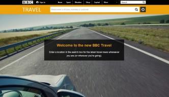 Screenshot of the new BBC Travel landing