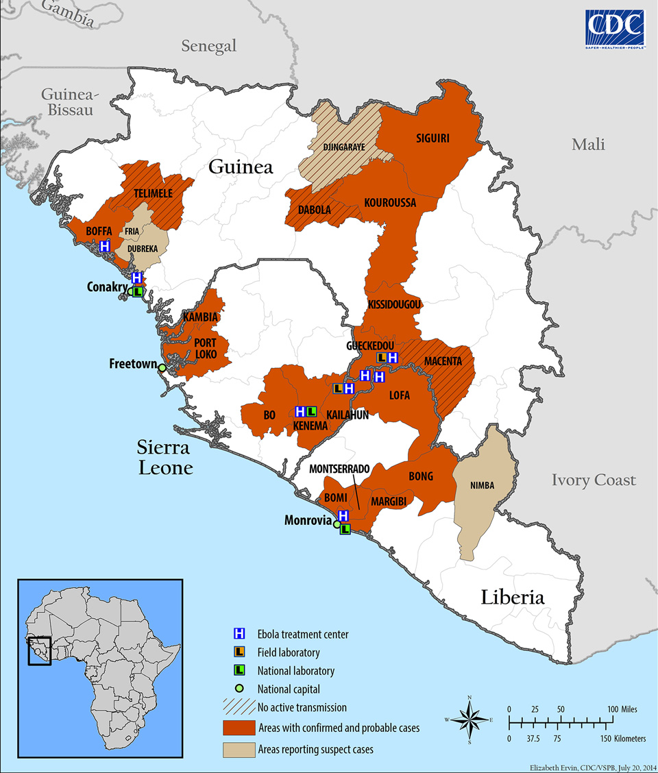 Ebola Hemorrhagic Fever Outbreak in Guinea, Liberia, and Sierra Leone 2014
