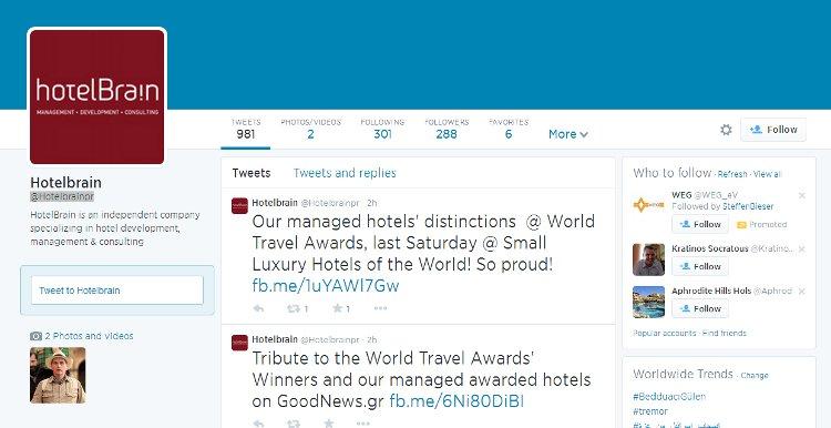 Twitter engagement HotelBrain