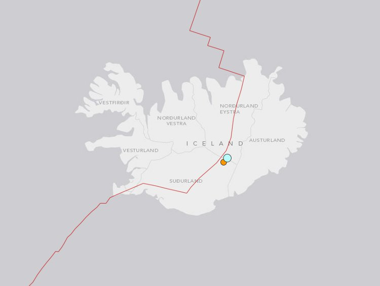 108km WNW of Hofn, Iceland via the USGS