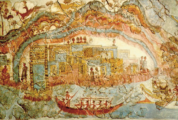 Fresco from Akrotiri showing a Minoan port