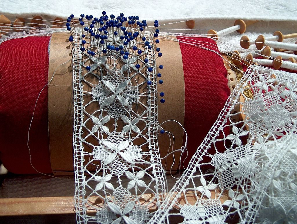 An example of bobbin lace during manufacture - Courtesy Anneli Salo