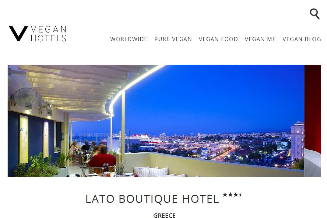 Lato Boutique Hotel listing on Vegan Hotels