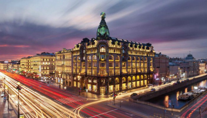 Angleterre Hotel and the beautiful city of St. Petersburg.
